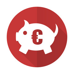 piggy bank red flat icon