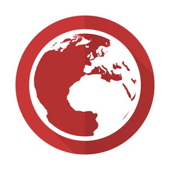 earth red flat icon world sign