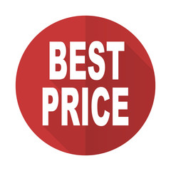 best price red flat icon