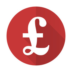 pound red flat icon
