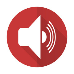 volume red flat icon music sign