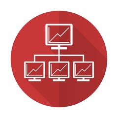 network red flat icon lan sign