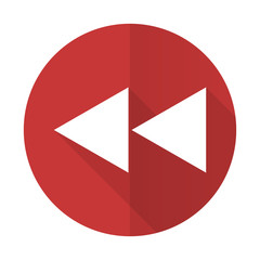 rewind red flat icon