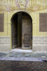 Old wooden front door. Color image