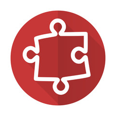 puzzle red flat icon