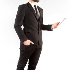 Hipster man in a classic suit isolated on a white background