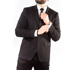 Hipster man in a classic suit isolated on white background