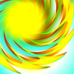 Yellow brown blue abstract sun background