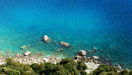 seascape  from cliff with blue  sea to Punta Manara, liguria