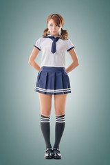 Japanese style school girl in sailor suit