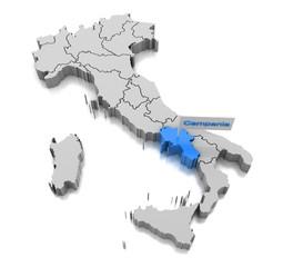 Map of Campania region
