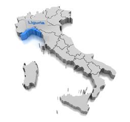 Map of Liguria region