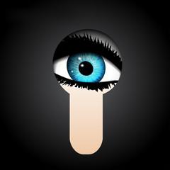 Blue eye in a keyhole