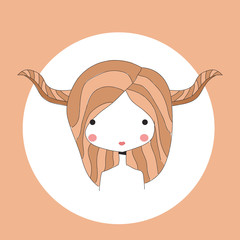 Horoscope Taurus sign, girl head