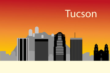 Tucson skyline background in editable vector file