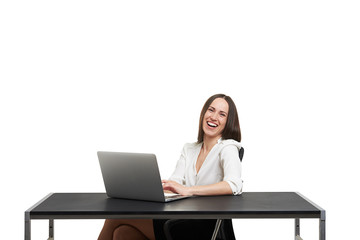 laughing young woman working