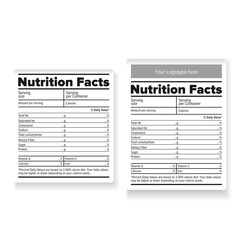 Nutrition facts label or sticker