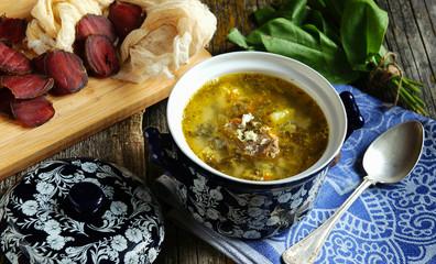 green soup with sorrel (green sorrel shchi)