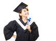 happy young woman graduating holding diploma and looking