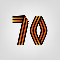 Seventy. Victory ribbon emblem