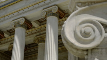 Colored columns in the classic style, close up