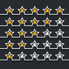 Vector modern stars rating set on black