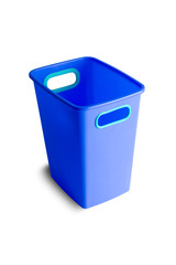 Blue plastic bucket with green handles