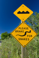 Road signs Bump and Brake for Snakes