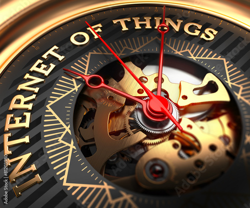 Internet of Things on Black-Golden Watch Face. - 81203980