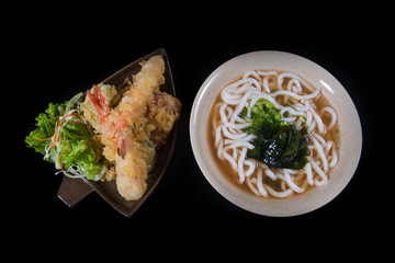 Japanese noodles with shrimp tempura