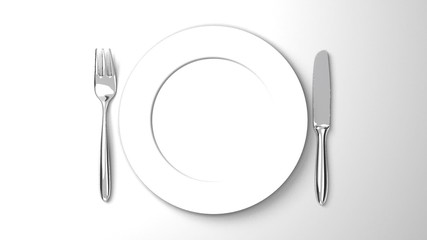 Top View Of Cutlery And Dish On White Background