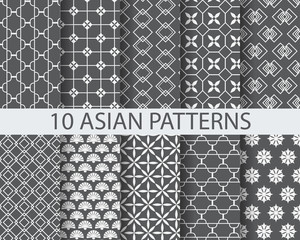 10 different chinese asian traditional patterns