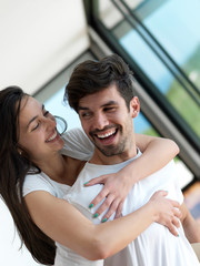 relaxed young couple at home