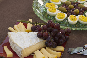 Cheese, Eggs, Olive and Grapes