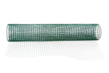 A roll of metal net coated with green PVC, isolate on white
