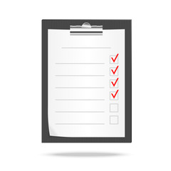 Checklist with  checking off tasks
