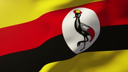 Uganda flag waving in the wind. Looping sun rises style