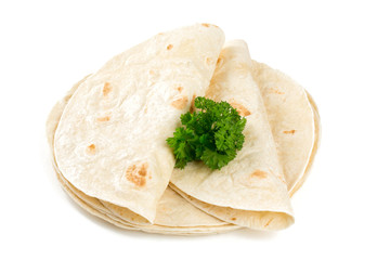 wheat tortillas isolated on white