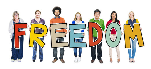 Multi-Ethnic Group of People Holding Freedom Concept