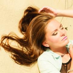 Beautiful girl long hair outdoor, portrait