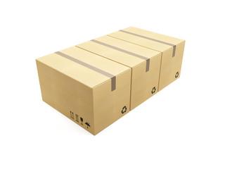 row of cardboard box