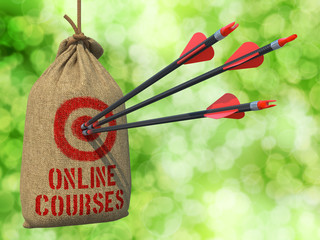 Online Courses - Arrows Hit in Red Target.
