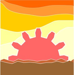 abstract hot landscape with gear instead the sun