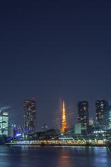 高層ビル群と東京タワーの夜景
