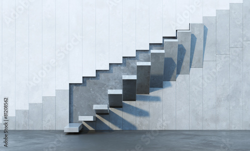 Poster Stad gebouw stairs leading upward