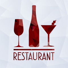 wine glass and geometric concept red