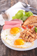 fried egg,toast,bacon and beans