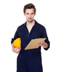 Smiling builder hold with clipboard