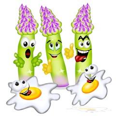 asparagi ed uova cartoon