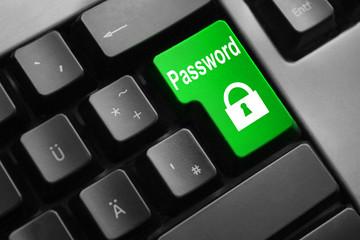 grey keyboard green button password lock symbol